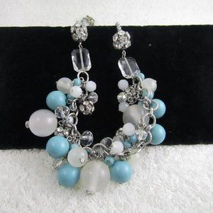 LOFT Hanging Blue Clear Rhinestone Beaded Necklace